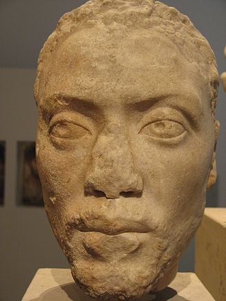 Herodes Atticus - Memnon, foster child of Herodes Atticus; marble bust (showing sub-Saharan facial features), ca. 170 AD, from the villa of Herodes Atticus at Eva, Peloponnesus.