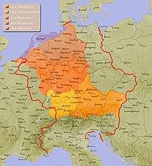 L'area germanofona nel Sacro Romano Impero intorno al 962.