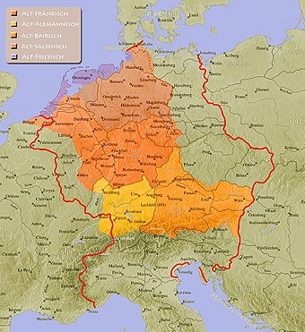 The Germanic-speaking area of the Holy Roman Empire around AD 962. Old Frisian (Alt-Friesisch ) Old Saxon (Alt-Sachsisch ) Old Franconian (Alt-Frankisch ) Old Alemannic (Alt-Alemannisch ) Old Bavarian (Alt-Bairisch ) AlthochdeutscheSprachraume962 Box.jpg