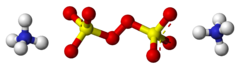 Ball-and-stick models of two ammonium cations and one peroxydisulfate anion