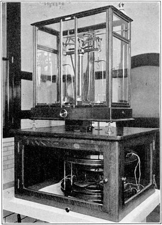 Kibble balance - Precision Ampere balance at the US National Bureau of Standards (now NIST) in 1927. The current coils are visible under the balance, attached to the right balance arm. The Kibble balance is a development of the Ampere balance.