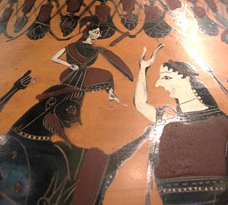 "Greek mythology - Attic black-figured amphora depicting Athena being ""reborn"" from the head of Zeus, who had swallowed her mother Metis, on the right, Eileithyia, the  goddess of childbirth, assists, circa 550–525 BC (Musée du Louvre, Paris)."