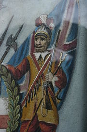 An heraldic supporter. A Pikeman of the Honourable Artillery Company, in sand
