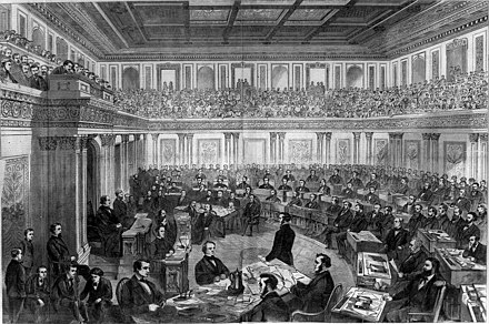 The Senate has the power to try impeachments; shown above is Theodore R. Davis's drawing of the impeachment trial of President Andrew Johnson, 1868 Andrew Johnson impeachment trial.jpg