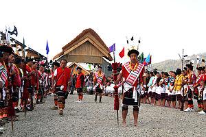 English: India, Nagaland, festival Angami trib...