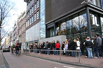 Anne Frank House - Visitors queueing in front of the museum entrance