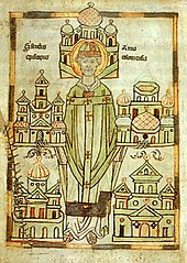 Anno II. With models of the monasteries he founded - illustration in the Darmstadt Vita Annonis Minor (around 1180)