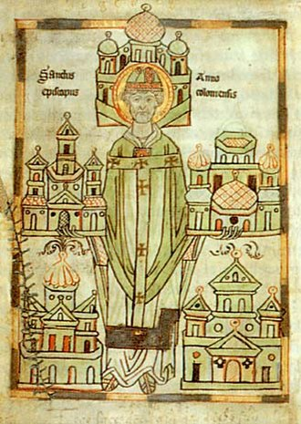 Anno II - Archbishop of Cologne showing monasteries he established (Vita Annonis Minor)