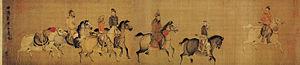 Dongdan Kingdom - The King of Dongdan Goes Forth (東丹王出行圖), scroll, light colors on silk. 146.8 x 77.3 cm. National Palace Museum, Taibei