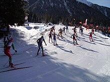 Un momento della gara maschile di staffetta ai Mondiali del 2007