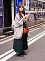 Antique schoolgirl-style promotional girl, in Akiba South Ura street (2015-06-14 05.18.43 by Franklin Heijnen).jpg