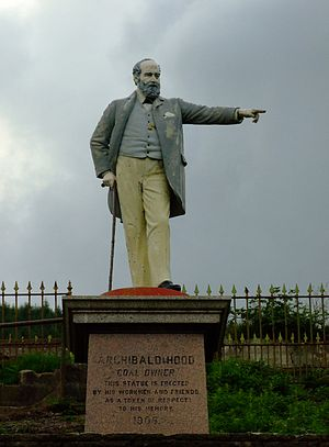 "Llwynypia - Statue of Archibald Hood originally stood in front of the now demolished Miners' Institute, known locally as ""The Library"""