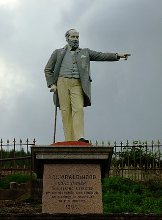 """Llwynypia - Statue of Archibald Hood originally stood in front of the now demolished Miners' Institute, known locally as """"The Library"""""""
