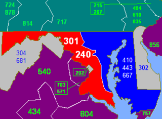 Area codes 301 and 240 North American telephone area codes in Maryland
