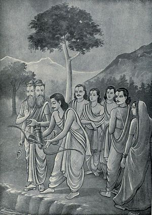 Mahaprasthanika Parva - On their way to Mount Sumeru, deity Agni meets Arjuna and asks him to return the celestial bow he loves and always kept with him. Arjuna returns the bow (shown).