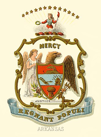 Seal of Arkansas - Historical coat of arms (illustrated, 1876)