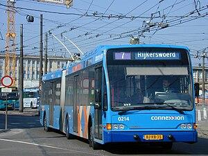 Trolleybuses in Arnhem - Image: Arnhem Berkhof trolleybus 0214 in 2001