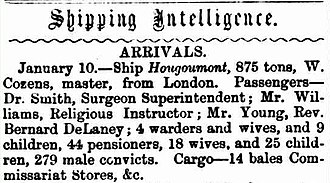 John Boyle O'Reilly - News clipping from the Perth Gazette and West Australian Times, 17 January 1868, announcing the arrival of the Hougoumont in Fremantle