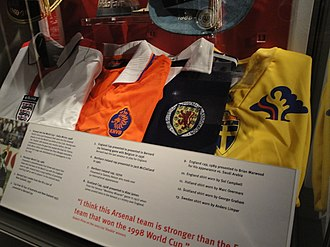 Marc Overmars - Overmars' Netherlands shirt, second from left on display