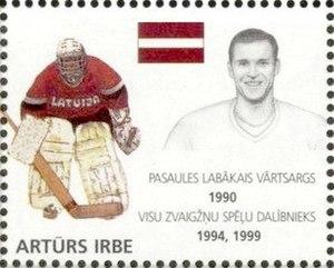 Artūrs Irbe - Irbe on a 2000 stamp of Latvia