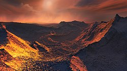 Artist's impression of the surface of a super-Earth orbiting Barnard's Star.jpg