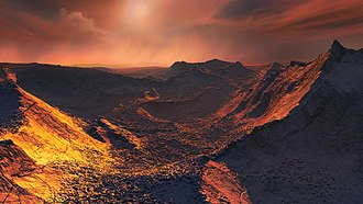 Barnard's Star - Artist's impression of the surface of a super-Earth orbiting Barnard's Star.