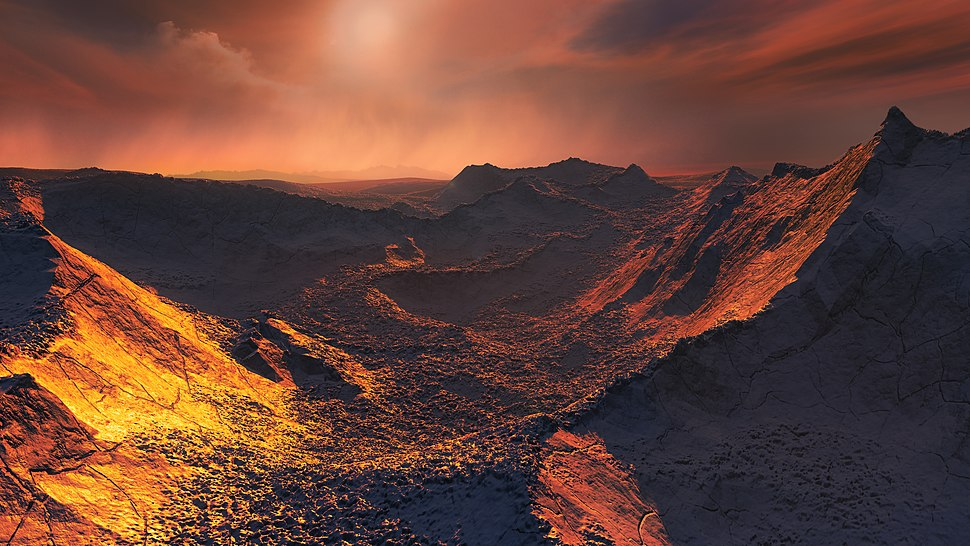 Artist's impression of the surface of a super-Earth orbiting Barnard's Star