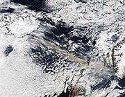 Satellitenbild der Aschewolke über Nordeuropa