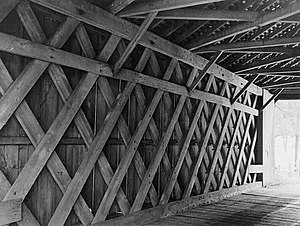 Ashland Covered Bridge - Interior lattice work