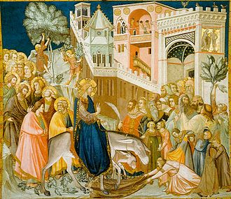 Palm Sunday - Entry of Christ into Jerusalem (1320) by Pietro Lorenzetti: entering the city on a donkey symbolizes arrival in peace rather than as a war-waging king arriving on a horse
