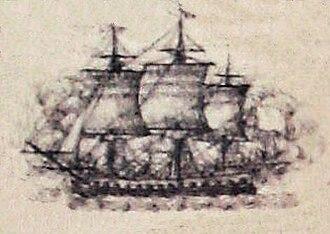 Action of 21 July 1781 - Image: Astree au combat de Louisbourg 1781