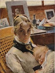 A Studio Idyll. The Artist's Wife and their Daughter