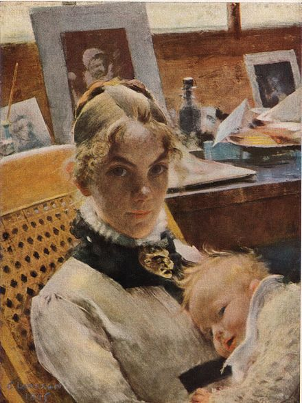 A studio idyll depicting the artist's wife with her first child, Suzanne Atelje-idyll Konstnarens hustru med dottern Suzanne av Carl Larsson 1885.jpg