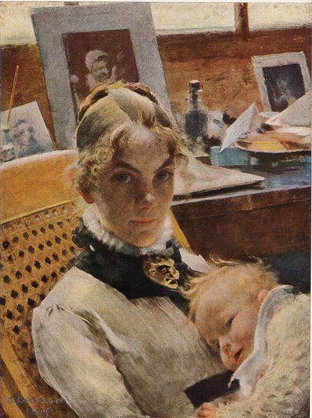 File:Atelje-idyll Konstnärens hustru med dottern Suzanne av Carl Larsson 1885.jpg