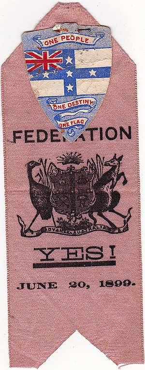 Coat of arms of Australia - An 1899 suggested version, and the Australian Federation Flag