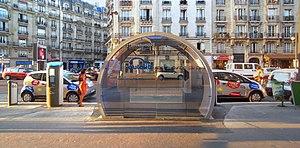 Autolib' - An Autolib' kiosk on Boulevard Diderot.