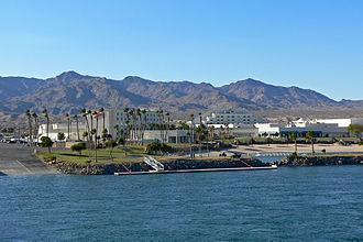 Avi Resort & Casino - Casino as seen from Arizona in 2006. The hills behind the casino are in California.