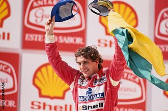 1993 Formula One World Championship - Triple world champion Ayrton Senna (pictured celebrating his win in Brazil) was the runner-up.
