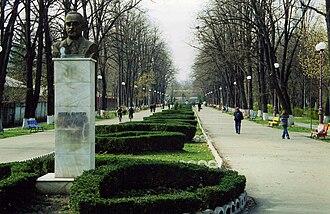 Bacău - Image: Bâcau, Romania. Monumentul Mircea Cancicov, March 2001