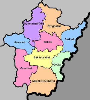 Districts of Hungary - A map of the districts in Békés County