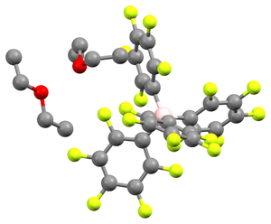 Non-coordinating anion - Image: B Ar F acid crystal structure