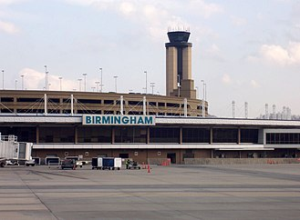 Birmingham–Shuttlesworth International Airport - Airport terminal, tower, and parking deck on March 14, 2008