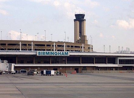 Airport terminal, tower, and parking deck on March 14, 2008 BHM tower and terminal.jpg