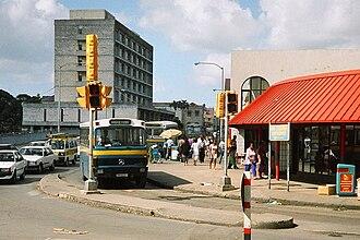 Barbados Transport Board - An old Barbados Transport Board Bridgetown bus BM 322 turning into Fairchild Street in Bridgetown.