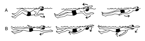 A depicts elementary backstroke;B depicts backstroke.