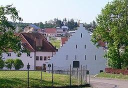 Ehemaliges Zisterzienserinnenkloster Baindt, Landkreis Ravensburg Blick vom Klosterhof in Richtung des heutigen Gemeindezentrum Baindts