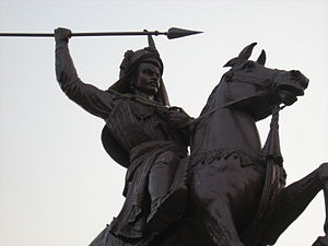 Shaniwar Wada - An equestrian statue of Bajirao I in the Shaniwar Wada complex. Bajirao I, the second Peshwa of the Maratha Empire, was the first resident of the fort as a Peshwa.