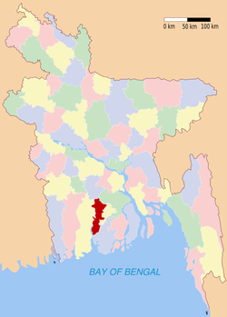 Location of Pirojpur in Bangladesh