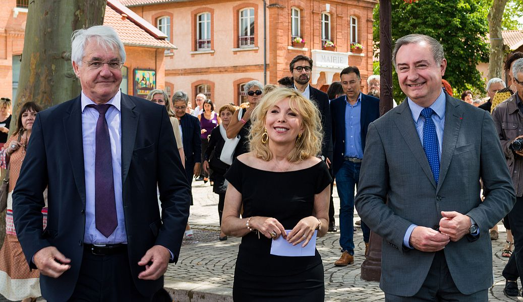 From left to right: mayor of Fenouillet Gilles Broquere, Maryse Wolinski and Jean-Luc Moudenc.