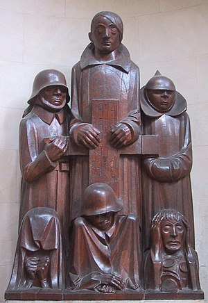 "Degenerate art - Das Magdeburger Ehrenmal (the Magdeburg cenotaph), by Ernst Barlach was declared to be degenerate art due to the ""deformity"" and emaciation of the figures—corresponding to Nordau's theorized connection between ""mental and physical degeneration."""